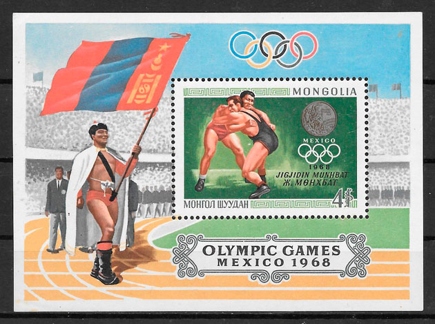 colección sellos olimpiadas Mongolia 1968