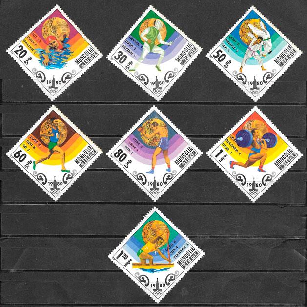 sellos olimpiadas Mongolia 1980