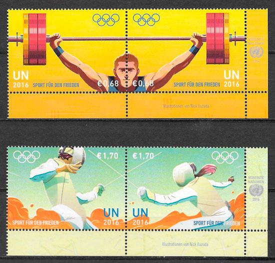 filatelia colección olimpiadas Naciones Unidas Viena 2016