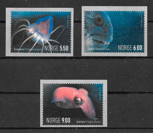 filatelia colección fauna Noruega 2004