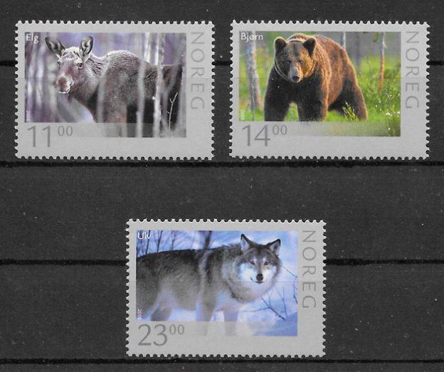 colección sellos fauna Noruega 2008