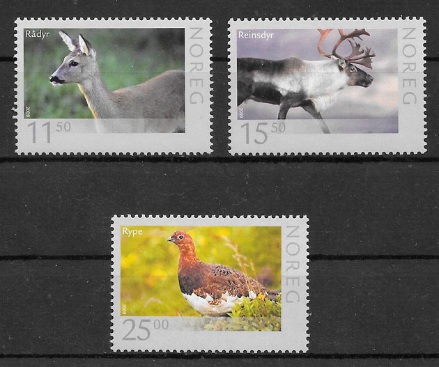 colección sellos fauna Noruega 2009