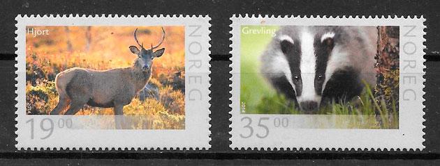 filatelia colección fauna Noruega 2014