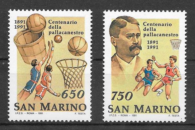 colección sellos deporte San Marino 1991