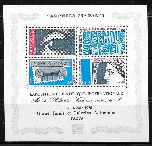filatelia colección arte Francia 1975