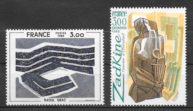 sellos arte Francia 1980