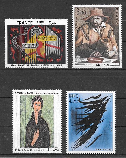 filatelia colección arte Francia 1980