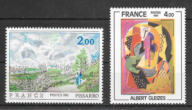 filatelia pinturas Francia 1980