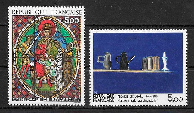 filatelia colección arte Francia 1985