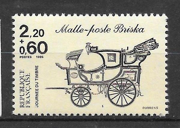 filatelia colección transporte Francia 1986