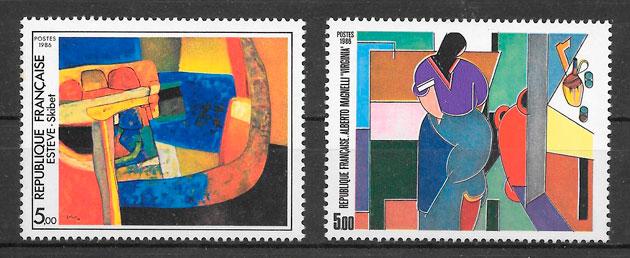colección sellos pinturas Francia 1986