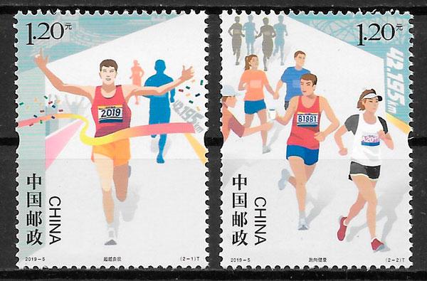 colección sellos deporte China 2019