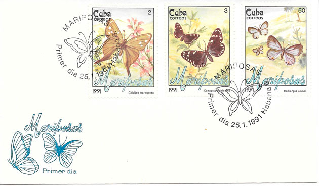 filatelia mariposas Cuba 1991