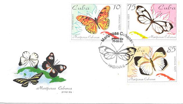 filatelia mariposas Cuba 1995