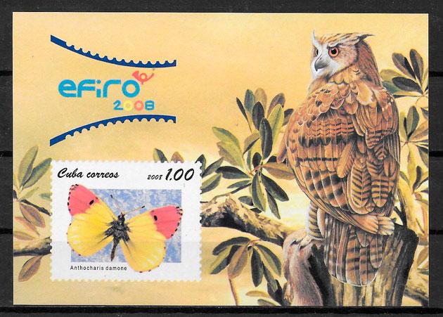 filatelia colección mariposa Cuba 2008