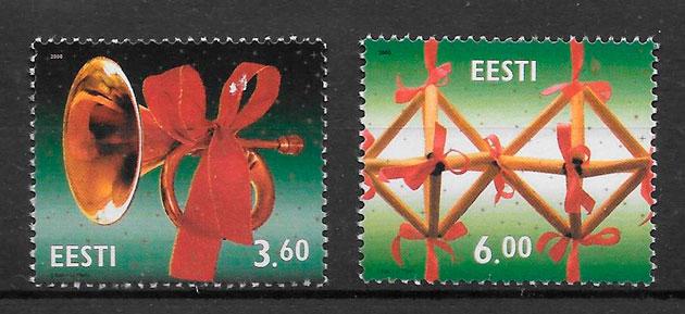 sellos navidad Estonia 2000