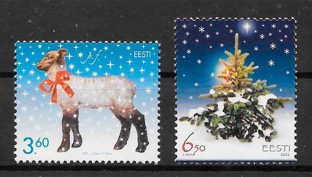 filatelia navidad Estonia 2002