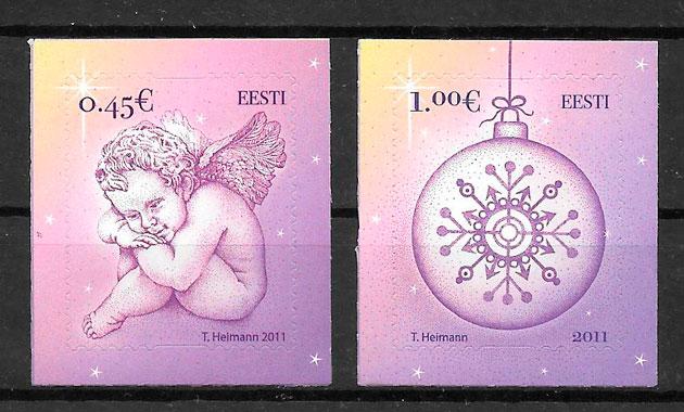 colección sellos navidad Estonia 2011