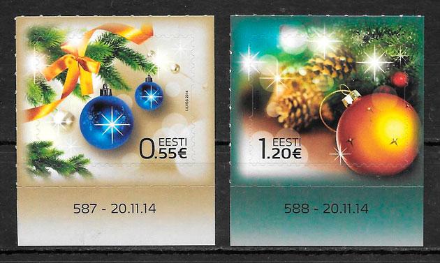 filatelia navidad Estonia 2014