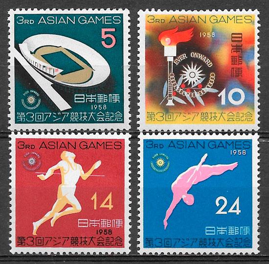 sellos deporte Japón 1958