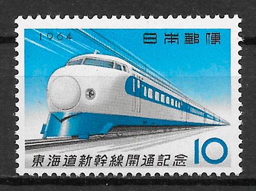 colección sellos trenes Japón 1964