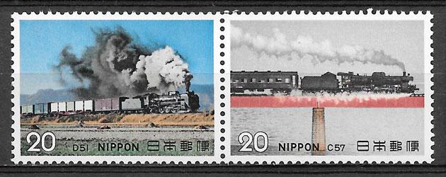 sellos trenes Japón 1972