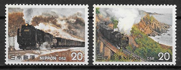 sellos trenes Japón 1975