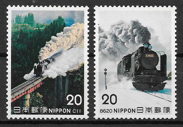 filatelia trenes Japón 1975