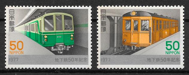filatelia colección trenes Japón 1977