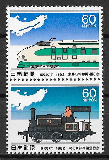 sellos trenes Japon 1982