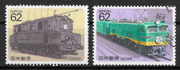 sellos trenes Japón 1987