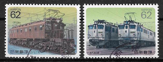 sellos trenes Japón 1990