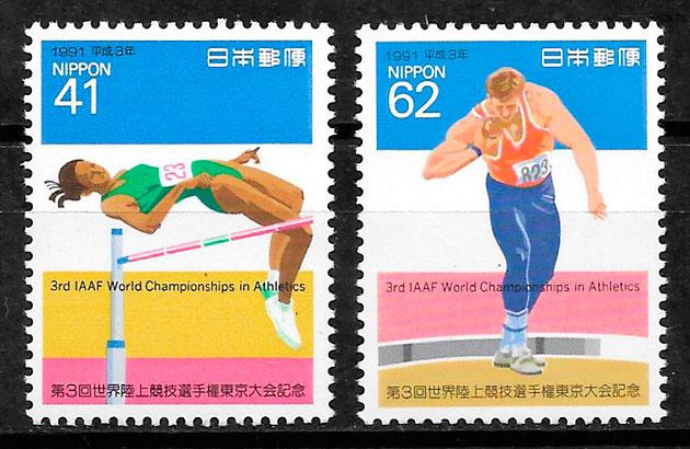 filatelia colección deporte Japón 1991