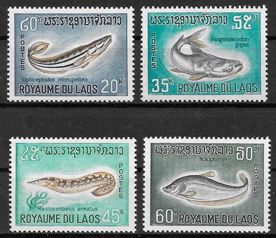 sellos fauna Laos 1967