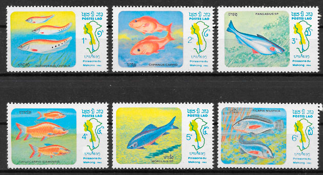 filatelia colección fauna Laos 1983