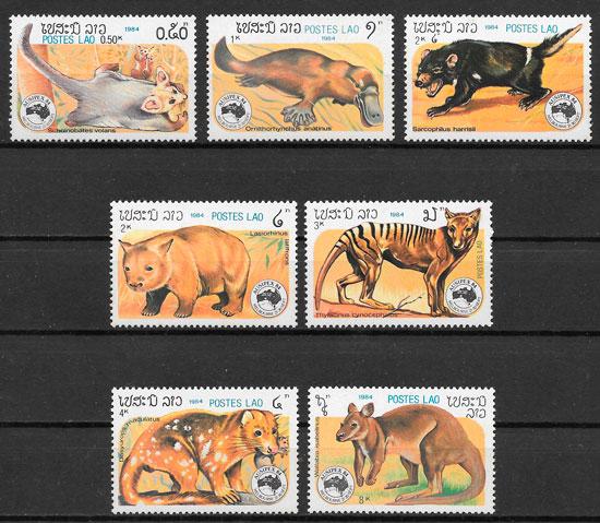 sellos fauna Laos 1984