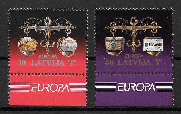sellos Europa Letonia 1994