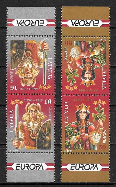 sellos Europa Letonia 1995