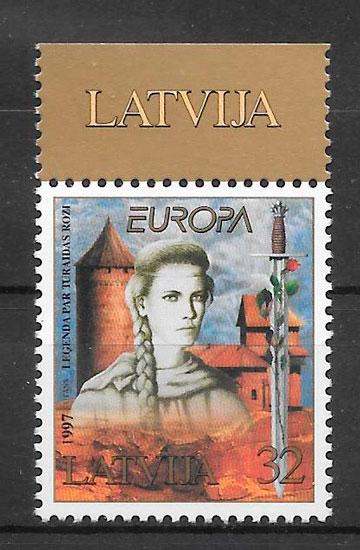 sellos Europa Letonia 1997