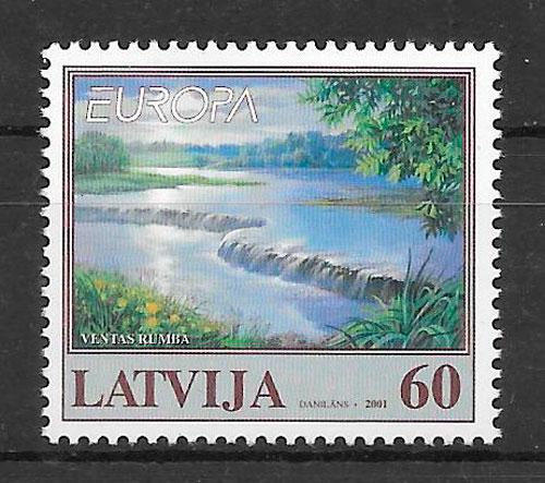 sellos Europa Letonia 2001