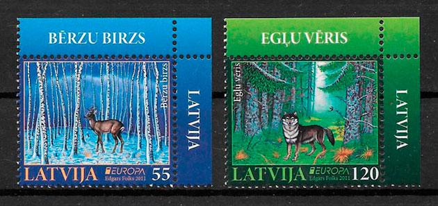 colección sellos Europa Letonia 2011