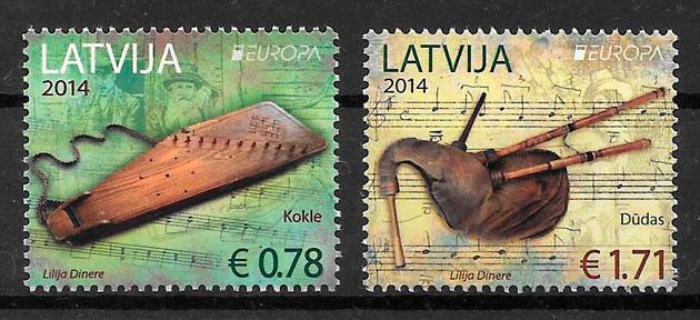 filatelia colección Europa Letonia 2014