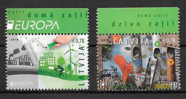 colección sellos Europa Letonia 2016