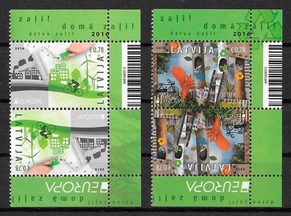 colección sellos Europa Letonia 2017