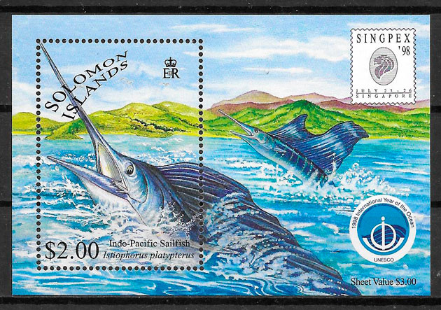 filatelia colección fauna Salomon Islands 1998