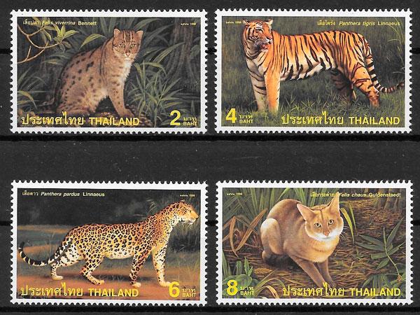 filatelia fauna Tailandia 1998