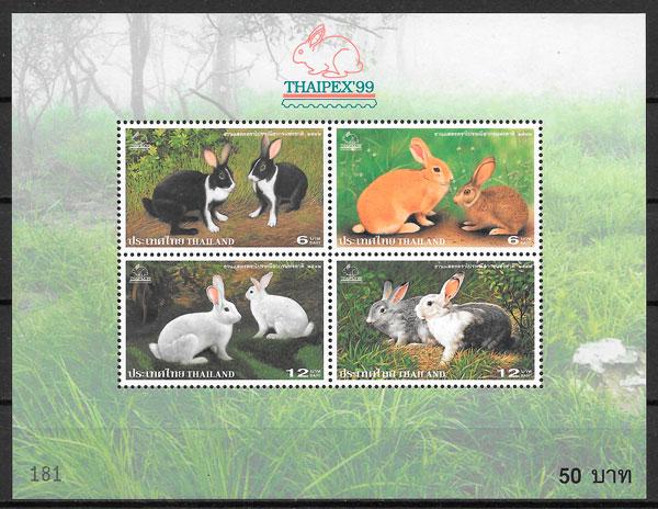 filatelia fauna Tailandia 1999