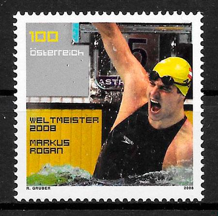 colección sellos deporte Austria 2008