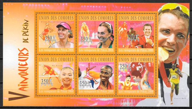 filatelia olimpiadas Comores 2010
