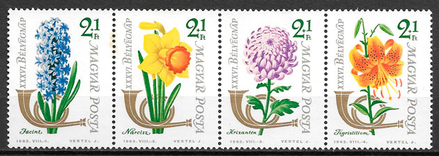 colección sellos flora Hungría 1963
